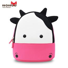 Wholesale Cow School Bags - NOHOO Waterproof Kids Backpack 3D Cute Cow Cartoon Toddler Backpack Pre School Baby Children Sidesick Bags for 2-5 Years Old