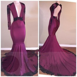 Wholesale Plus Size Lace Peplum Dress - 2018 Sheath Deep V Neck Mermaid Backless Evening Dresses wear Gold Lace Appliques Long Sleeves Plus Size Beaded Formal Prom Party Gowns