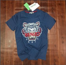 Wholesale T West - 2018 SHARK new Embroidered tiger head T -shirt High quality cotton Short sleeve NOAH KANYE WEST VETEMENTS JUSTIN BIEBER shirt