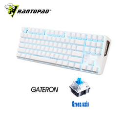 Wholesale Flip Usb - Rantopad MXX white luxury 87-key USB wired backlit mechanical gaming keyboard ABS two-color plastic keycap N key flip
