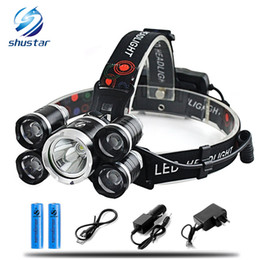 Wholesale Led Head Lights For Cars - 15000Lm XML T6 5 LED Headlight Headlamp Head Lamp Light 4 mode torch 2x18650 battery Car charger for fishing