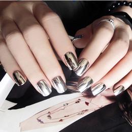 2019 plata metalica 24 unids / set Metalic Silver False Nails Fashion Girls Presione en las uñas con pegamento Shinny Silver Full Artificial Fake rebajas plata metalica