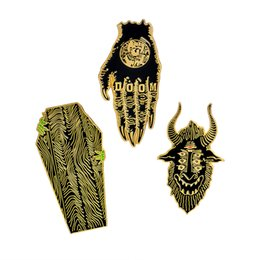 Wholesale Wholesale China Backpack - QIHE JEWELRY Hands of doom satan sees all coffin pins Gothic pins Punk pins Badges Brooches Leather jackets Backpack accessories