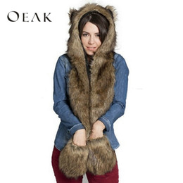 1ca76c5ae5f Oeak Fashion Imitation fur Hat plush Cartoon Animal Hat Scarf Gloves One Cap  Winter Set