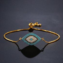 türkische augenschmuck Rabatt NEWBUY 2018 Trendy Türkische Gold Evil Eye Armband Pflastern CZ Blue Eye Gold Kette Armband Einstellbare Weibliche Partei Schmuck