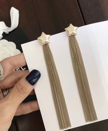 Wholesale Gold Plating Home - cc home Star tassel Earrings, Six awn star Women's Dangle Luxury C Brand Earrings for Women Anniversary Gift Wedding Jewelry for Bride