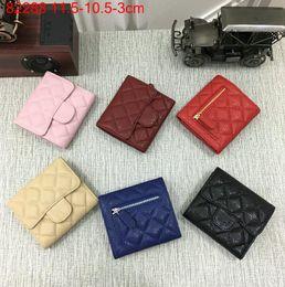 Wholesale Zipper Top Korean - Top Quality Brand Celebrity design Genuine Caviar Leather 82288 Plaid Wallet Woman zipper Coin Clutch Card ID Holders Clutch