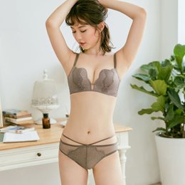 3474a83ecd83c 3 colors Sexy Lace Embroidery Push Up Bra Set petal cup Women Lady lash  Underwear Satin seamless deep-v Bra Sets With Panties
