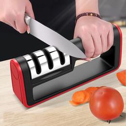 Inoxidable cuchillo de cerámica online-Herramientas de cocina Afilador de cuchillos profesional de acero inoxidable de cerámica cuchillo suave piedra de afilar K0009