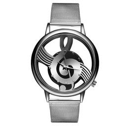Женщина кварцевые часы аналоговый пирсинг полые музыкальные ноты стиль из нержавеющей стали сетки ремешок наручные часы мода женский подарок повседневная девушка часы от