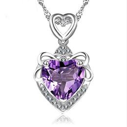 Wholesale Sterling Silver Ocean Jewelry - Heart of Ocean 925 sterling silver necklace love jewelry sea blue zircon crystal pendant