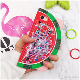 caso di frutta 3d di iphone Sconti YunRT Liquid Glitter Quicksand Cases per iPhone x 8 7 6 6s Plus Silicone Carino 3D Fruit Ananas Copertura in gomma per iPhone X caso