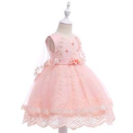 Broderie Princesse Soirée Longue Trailing Dress Avec Grand Arc Sexy Élégant Rose Enfants Formelle Usure Fleur Filles Robe ? partir de fabricateur