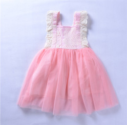 Wholesale Wholesale Childrens Party Dresses - INS Girls Pink Lace Dresses Childrens Wedding Tutu Dresses 2018 Kids Party Clothes Cute Party Dresses Baby Clothes Fast Shipping