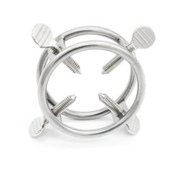 anéis de torneira de aço ajustável Desconto Anel de espigão de tortura de pau anel de espiga engrenagem bondage brinquedos sexuais para homens de aço inoxidável com 4 dentes ajustáveis XCXA233