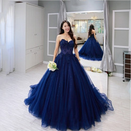 Blau formale 8. klasse kleider online-Dunkelblau Ballkleid Ballkleider Liebsten Spitze Applique Perlen Lace-up Tüll Abschlusskleid 8. Klasse Party Formale Abendkleider Elegant