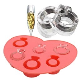 Wholesale Silicone Love Ring - Random Color Hot Selling Ice Tray Rhinestone Love Ring Ice Cube Style Freeze Ice Mold Maker Cakes Sweat Sugar Mould