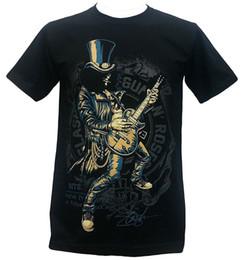 Мужская гитара онлайн-Пользовательские футболки с коротким рукавом мужчины подарок Слэш соло гитары пушки N розы американский хард-рок-группа футболка черный круглый вырез рубашки
