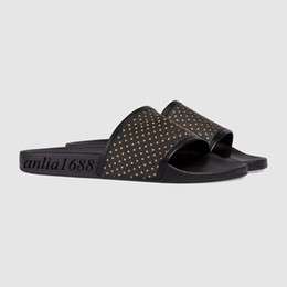Wholesale outdoor trimmers - Spring Summer 2018 fashion Logo-print leather-trimmed rubber slides sandals mens and womens summer outdoor beach slippers