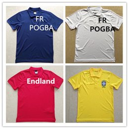 Wholesale Fr S - 2018 Fr Brazil Real Madrid Soccer Polo Shirt England Polos Men Adults Short Sport Polo Jersey