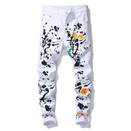 weiße farbige jeans für männer Rabatt Berühmte Balplein Modedesigner Jeans Men Gerade weiße Farbe gedruckt Herren Jeans zerrissene Jeans-Hose aus Baumwolle