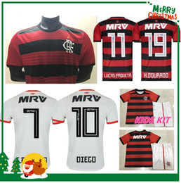 Wholesale football shirt kids kit - 18 19 flamengo jersey 2018 2019 Flemish GUERRERO DIEGO VINICIUS JR Soccer Jerseys Flamengo home red black sports football kids kit shirt