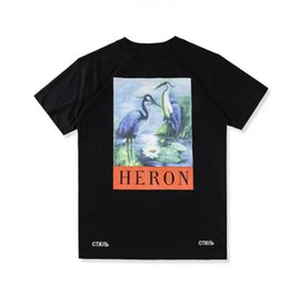 Wholesale Women Oversize T Shirt - 18SS summer high-quality fashion tee HERON PRESTON oversize 3D crane print pattern loose men and women short-sleeved T-shirt