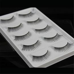 Wholesale Cheap Eye Lashes - 5 pairs Natural False Eyelashes Handmade Makeup Long Thick Black Extension Eye Lashes crisscross eyelash cheap Free Shipping