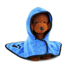 Wholesale Blue Dog Beds - LumiParty High Grade Dog Pet Hooded Bathrobe Towel Absorbent Drying Towel with Magic Sticker-35