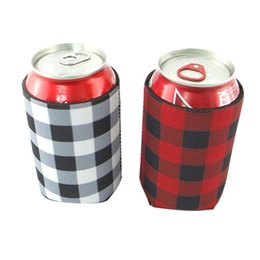 Wholesale neoprene sleeve case - Neoprene Can Sleeves Plaid Beverage Coolers With Bottom Beer Cup Cover Case Bottle Drinkware Handle Kids Cup Holder OOA5408