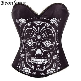 520207692 BEONLEMA Halloween Masquerade White Skull Printed Corset Top Women Gothic Club  Wear Black Bustiers and Corsets Sexy Clothing
