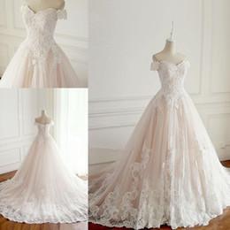 Vestido de noiva elegante princesa noiva on-line-Nova 2019 princesa vestidos de noiva peru branco apliques de cetim rosa dentro elegante vestidos de noiva plus size vestidos de casamento