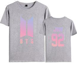 Wholesale T Shirt Printing Korea - 2018 Summer Korea Fashion K-pop Tee Cotton T-shirt O-neck Print Short Sleeve Tee Lover Couple Shirts Plus size
