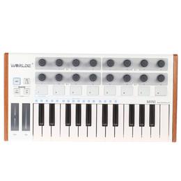 Almohadilla de piano online-Al por mayor Ultra-portátil Mini Profesional 25 teclas USB MIDI Drum Pad y controlador de teclado