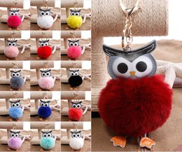 Wholesale Girls Side Bags - New Style Double-Sided PU Owl Hair Ball Key Chain Cute Bag Car Hair Ball Pendant Key Chain Cartoon Animal Ornaments Keyrings D513Q