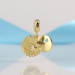 Wholesale sterling silver golden - 2018 New Authentic 925 Sterling Silver Bead You Are My Sunshine Golden Hanging Charm Fit Original Pandora Bracelet DIY Jewelry Making