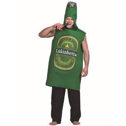 macacões de uma peça Desconto Festa de Traje De Cerveja verde Mens garrafa de Cerveja Emoji Roupas Role Play Fancy Dress Adulto Onepiece Macacão Carnaval Trajes Do Partido