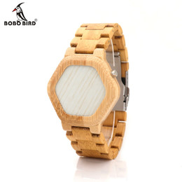Wholesale Unique Bamboo - Wholesale-BOBO BIRD E03 Bambooo Wooden WristWatch Mens Kisai Wood Led Watch Unique Night Vision Full Bamboo Clock With Box