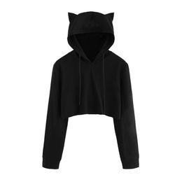 Wholesale Black Hoodie Ears - Free Ostrich Cute Womens Sweatshirts Hoodie Crop Tops Solid Cat Ear Long Sleeve Cropped Sweatshirt Hooded Pullover C1240