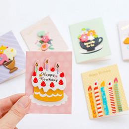 Cartão de dobramento novo on-line-1 pcs colorido 3d cartão de aniversário flores dobrar cartão de mensagem com envelope de Natal de Ano Novo bênção saudação Cartões de presente