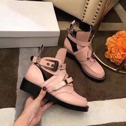 Wholesale Pink Wedding Colors - autumn pink women wedding dress shoes flats boots ankle shoes cutouts lady genuine leather motorcycle boots buckles women knight boots mujer