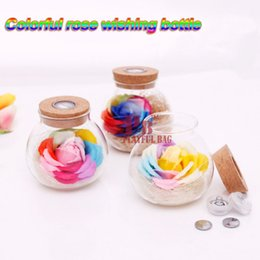 Wholesale Wood Soap - Wishing bottles colorful roses soap flowers remote control LED lights luminous bottles birthday gifts Christmas creative gifts