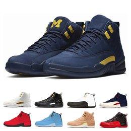 separation shoes b96cc db241 2019 großhandel college schuhe Großhandel 12 XII Basketball Schuhe Männer  Bulls Michigan College Navy weiß schwarz