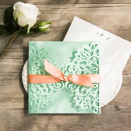 50 Pack Deisgn Elegant Green Invitaciones Tarjetas Para Bodas En Blanco Dentro De Papel Personalizar Hecho Birthday Party Convite Casamento