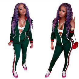 Wholesale Women S Two Piece Outfits - 2018 Two Piece Set Autumn Winter Zipper Jacket Top And Side Striped Pants Green Fitness Outfit Casual Suits Women Tracksuit