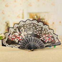 regalos bordados a mano Rebajas Ventilador de mano victoriano español tela floral bordado cola de pavo real ventiladores de baile suministros para el regalo ZA6712