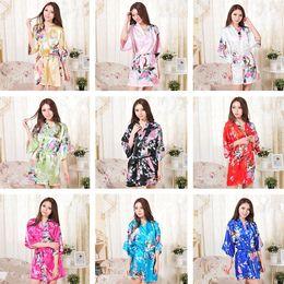 Indumenti da notte donna xxl online-Nuovi 14 colori S-XXL delle donne sexy giapponese Kimono di seta Robe pigiama Camicia da notte Sleepwear Broken Flower Kimono T2I245
