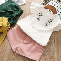 Wholesale Boutique Ruffle Pants Wholesale - Girls Embroidery V Ruffle Tops+Pants Outfits Summer 2018 Kids Boutique Clothing Korean 2-7Y Little Girls Ruffle Sleeves Set with Shorts
