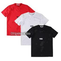 Ordenação camisetas on-line-Verão rua desgaste europa paris moda homens quebrado buraco algodão camiseta casuais mulheres tee t-shirt mix cores por atacado ordem em massa