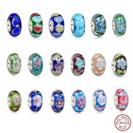 2019 perline autentiche di pandora murano Haha Jewelry 2PCS Fiore in vetro di Murano Charm con CZ Authentic 925 Sterling Silver Core Branello allentato regalo per Pandora Charms Bracelet perline autentiche di pandora murano economici